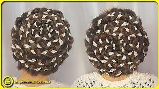 Плетение с кружевной лентой по спирали. Прическа Улитка 🐌 | Прическа для занятий танцами