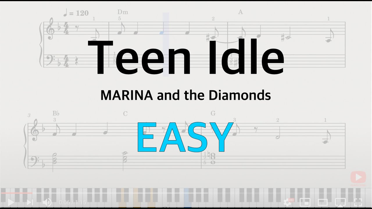 Teen Idle   MARINA and the Diamonds   Piano Tutorial EASY Beginner with  chords