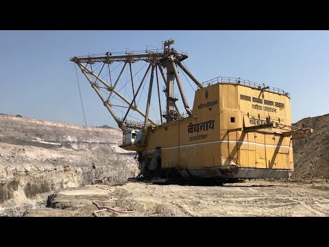 Coal Mine - Giant Dragline Excavator In Action.