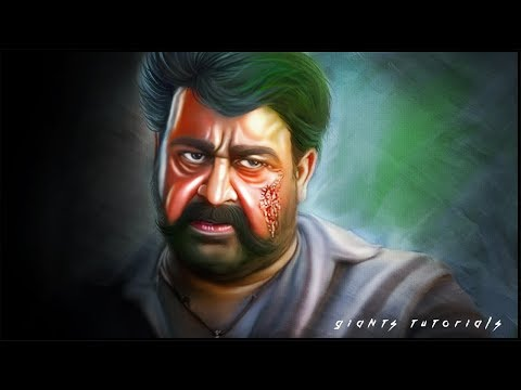 Mohanlal | Digital Painting | Smudge Painting | Photoshop Tutorial | Giants tutorials