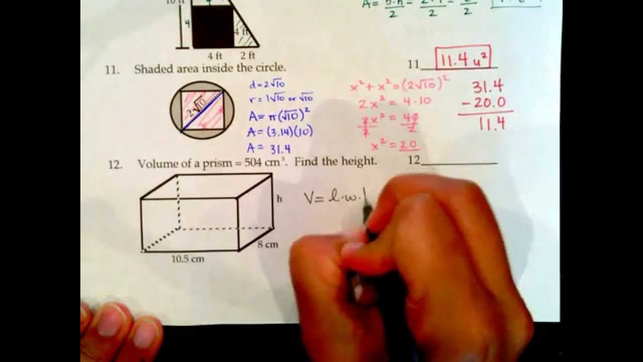 Texas Success Initiative, ACCUPLACER, Geometry Sample Questions 6 ...