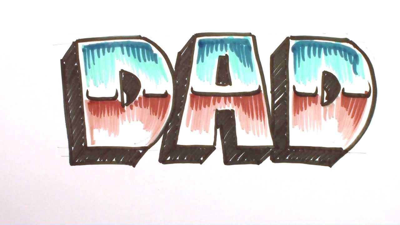 how to draw graffiti letters write dad in 3d block chrome letters mat youtube