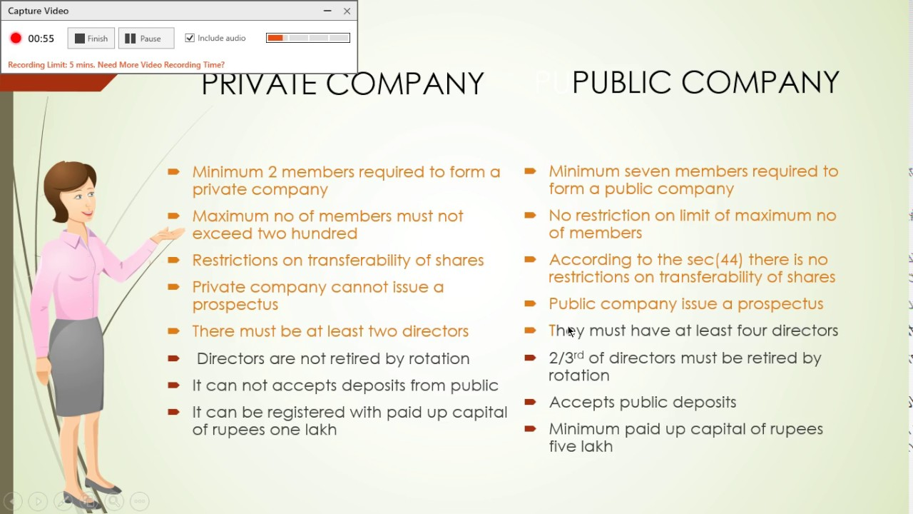 difference between a private and public company