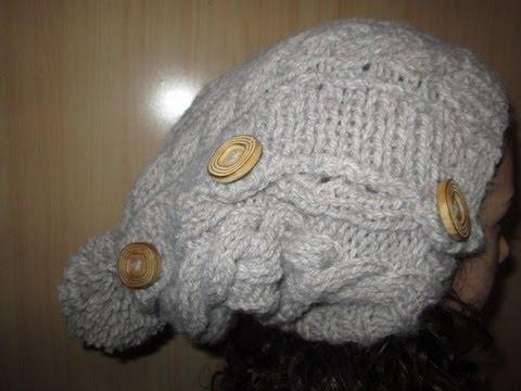 Tuto tricot apprendre a tricoter un bonnet tombant rasta avec torsade et pompon facile youtube - Modele de bonnet a tricoter facile ...