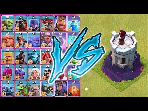 ALL TROOPS Vs. ONE LVL 10 WIZARD TOWER!! 🔸 Clash of clans Trolling!!