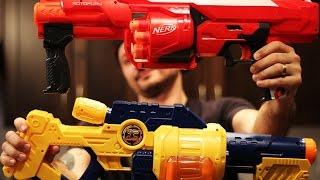 Nerf Mega RotoFury Vs Zuru X shot Turbo Fire Blaster Unboxing and Review War!