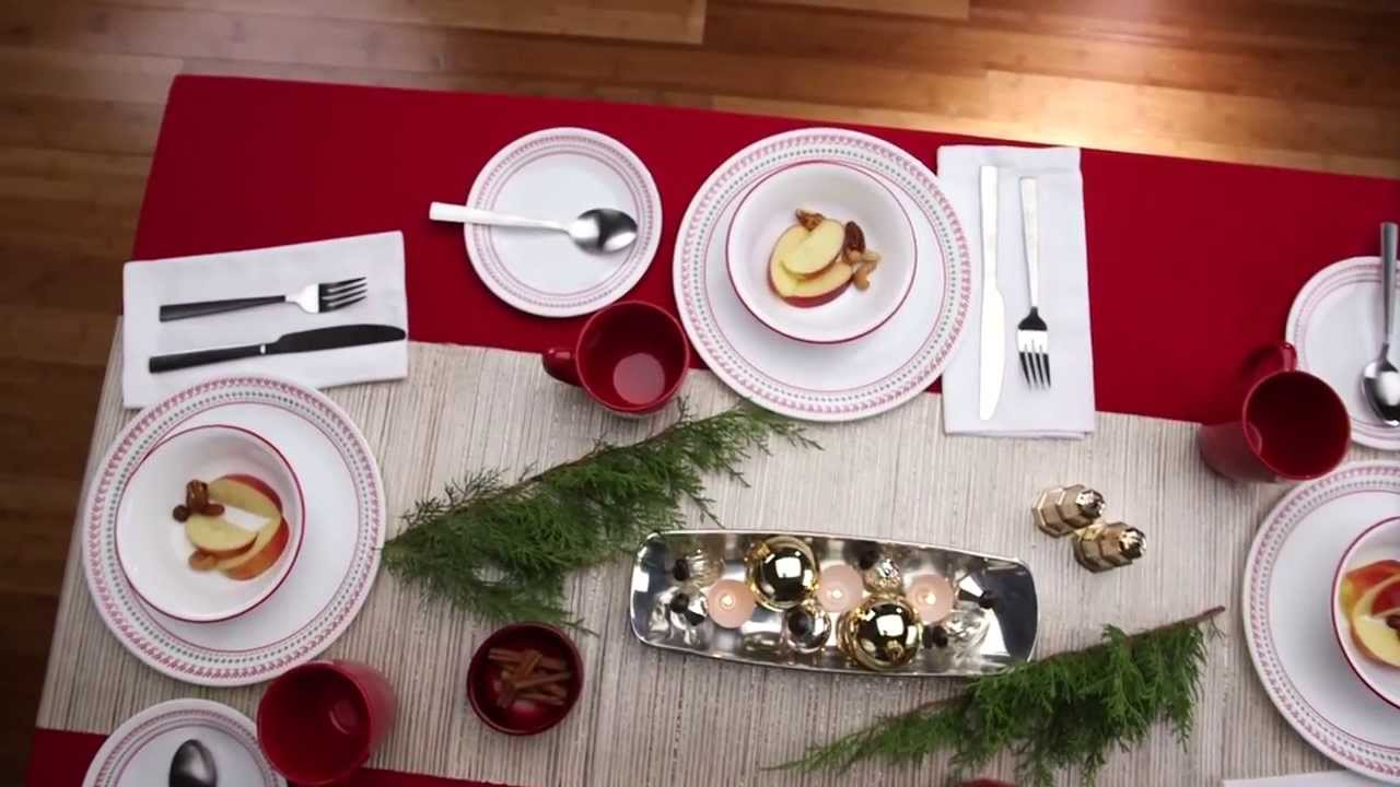 Corelle - Holiday Stitch 16 Piece Dinnerware Set : corelle christmas dinnerware sets - Pezcame.Com
