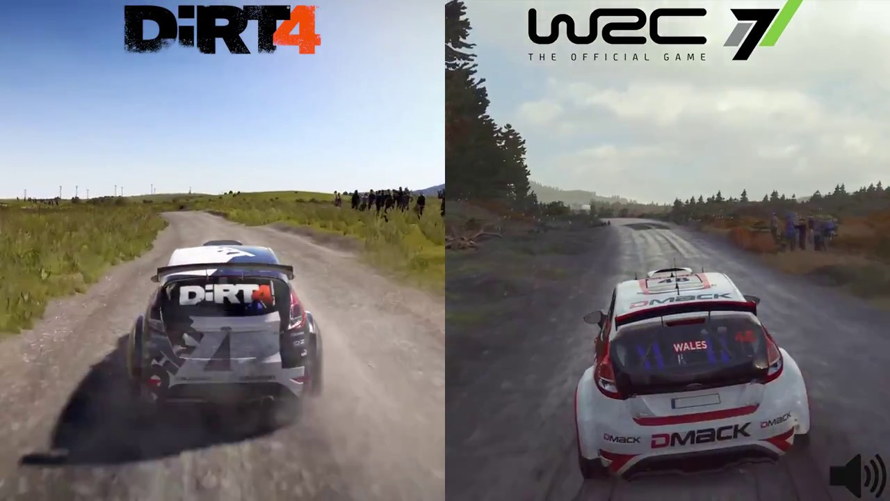 wrc 7 vs dirt 4 comparison wales ford fiesta r5 ps4 pro youtube. Black Bedroom Furniture Sets. Home Design Ideas