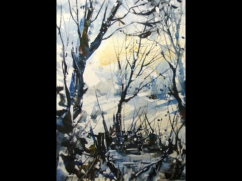Winter watercolor 20x speed time lapse – Vinter akvarel 20x hastighed –  painting demonstration
