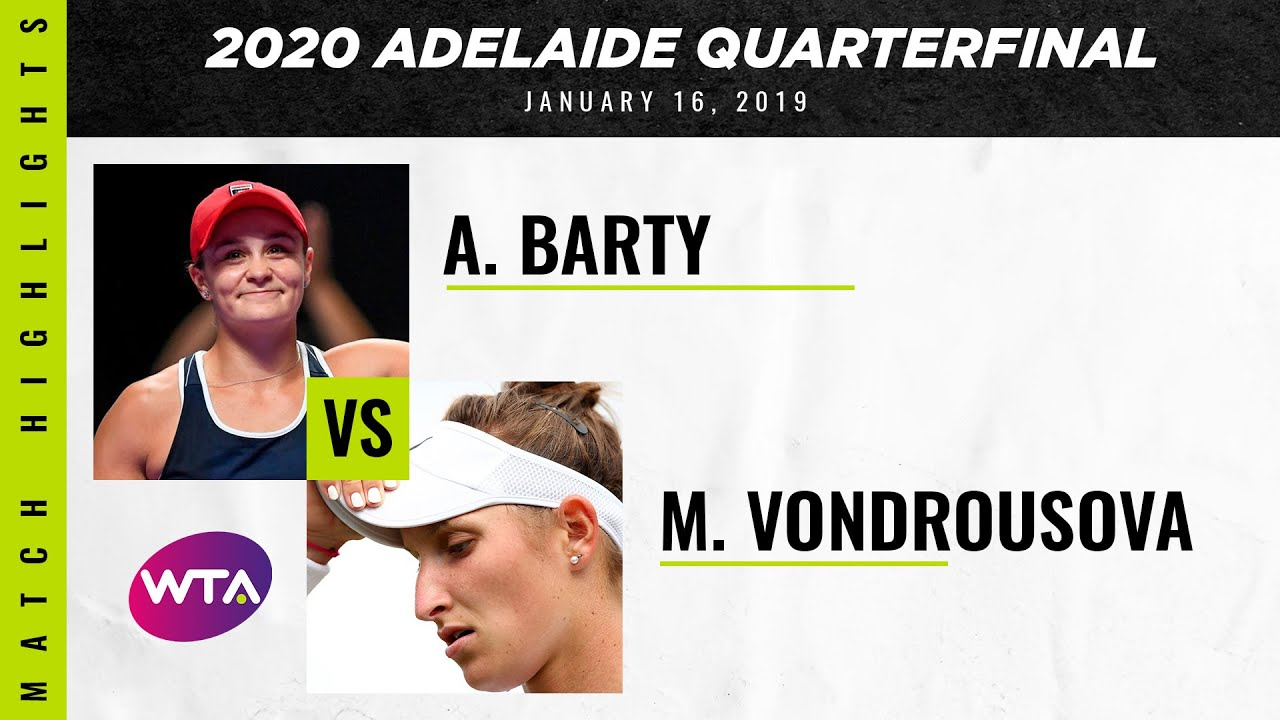 Ashleigh Barty vs. Marketa Vondrousova | 2020 Adelaide International Quarterfinal | WTA Highlig