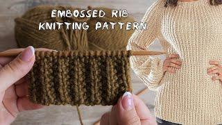 Рельефная резинка на 3х петлях спицами | Embossed rib knitting pattern