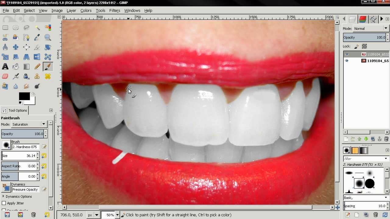 Whiten Teeth Gimp 2 8 Tutorial Youtube