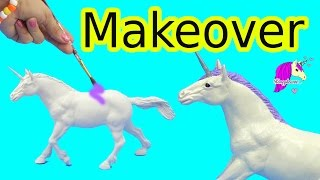 Custom Dollar Tree Horse Makeover Into Glitter Unicorn Do It Yourself DIY Craft with Paint + Clay