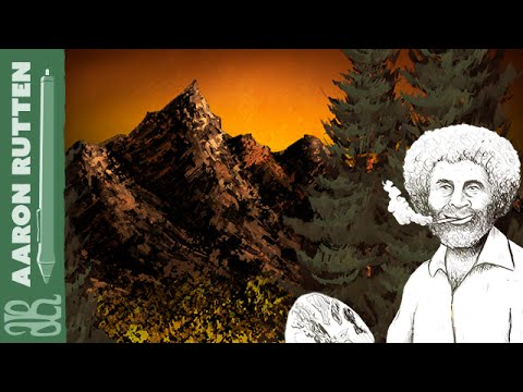 Digital Art Tribute to Bob Ross & Bill Alexander with Painte