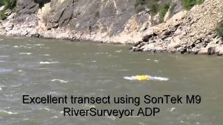 Oceanscience Q-Boat 1800P with SonTek M9 River Surveyor ADCP Discharge Velocity Measurement