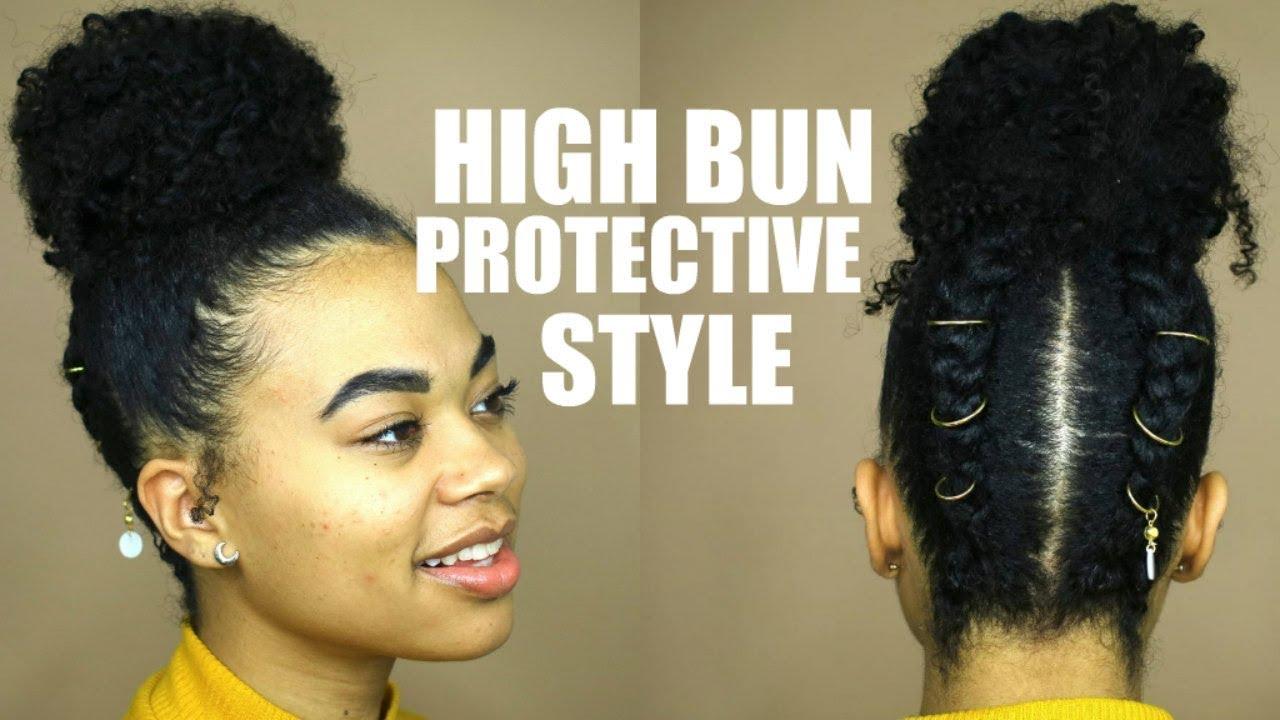 High Bun Protective Style On Short Natural Hair Youtube
