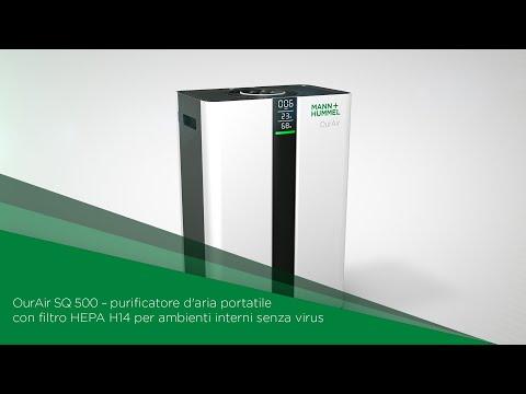 OurAir SQ 500 - purificatore d'aria portatile con filtro HEPA H14 per ambienti interni senza virus