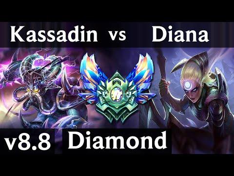 KASSADIN vs DIANA (MID) ~ Quadrakill, Legendary, KDA 18/2/6 ~ EUW Diamond ~ Patch 8.8