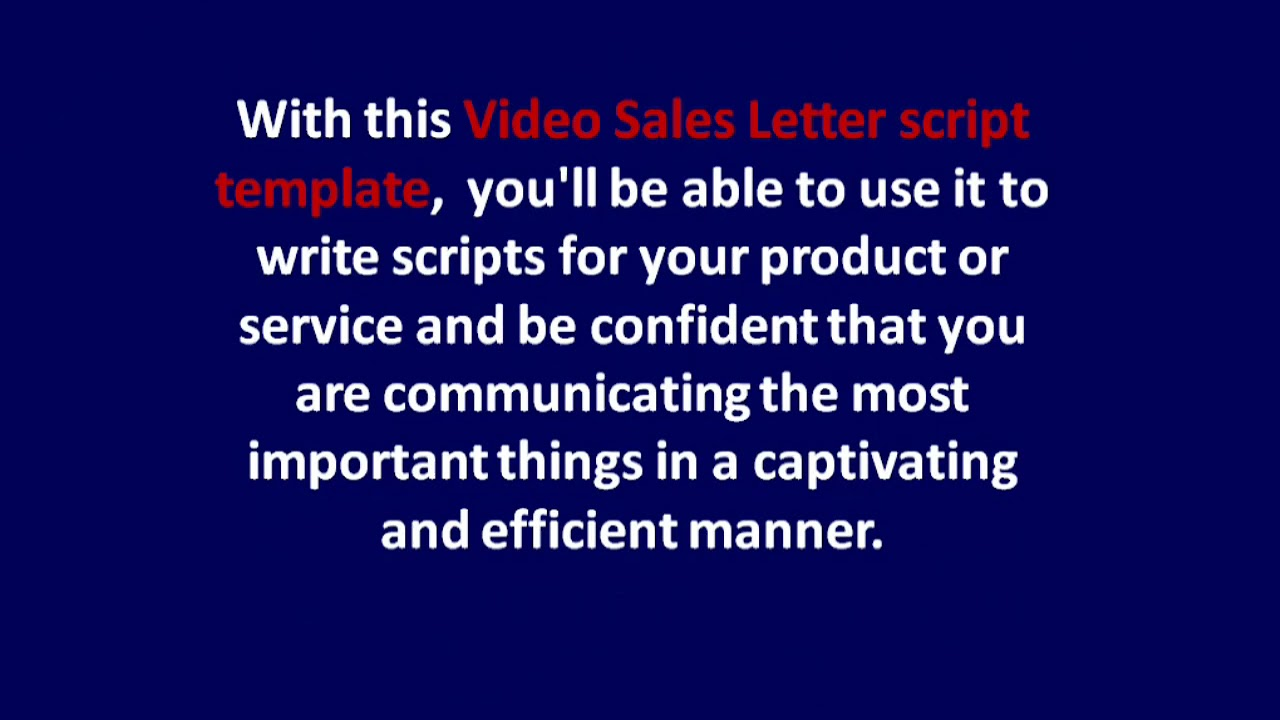 Give You The Perfect Video Sales Letter Script Template For Yo