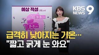 """[날씨] """"출근길 따뜻하게 입으세요""""…내일 전국에 추위·눈 / KBS 2021.02.15."""
