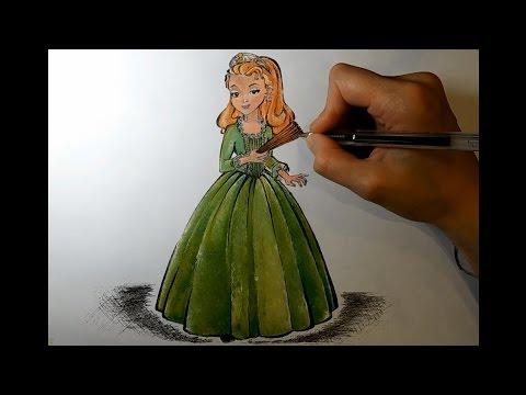 Рисуем гуашью: принцесса Эмбер с веером. Мульт Disney София прекрасная.