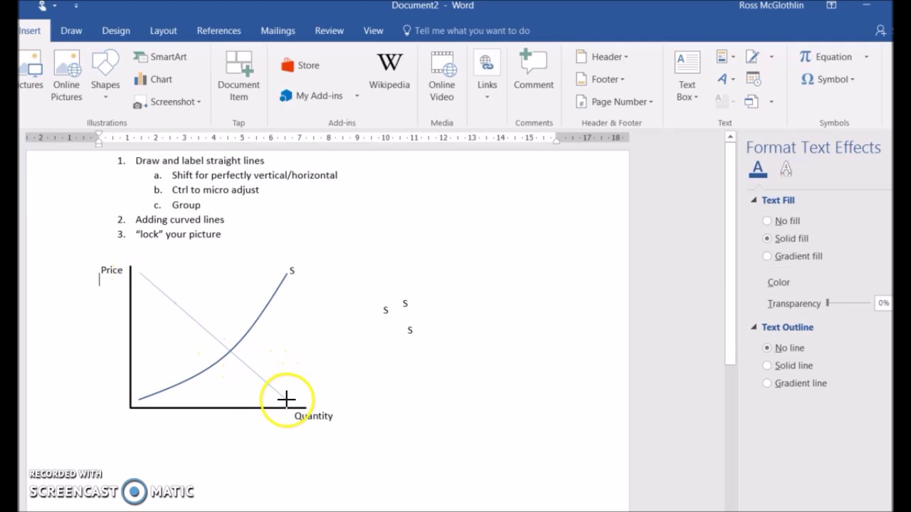 hight resolution of using ms word to draw diagrams for economics