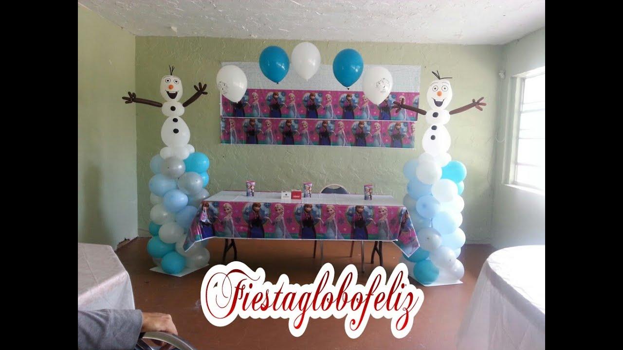 Como hacer a olaf de frozen y armar un arco de globos con for Como hacer decoracion con globos