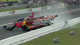 Top Alcohol Funny Car driver DJ Cox takes a hard hit into the wall