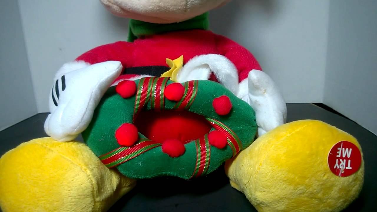 Animated Disney Christmas Santa Mickey Mouse Plush Plays Jingle