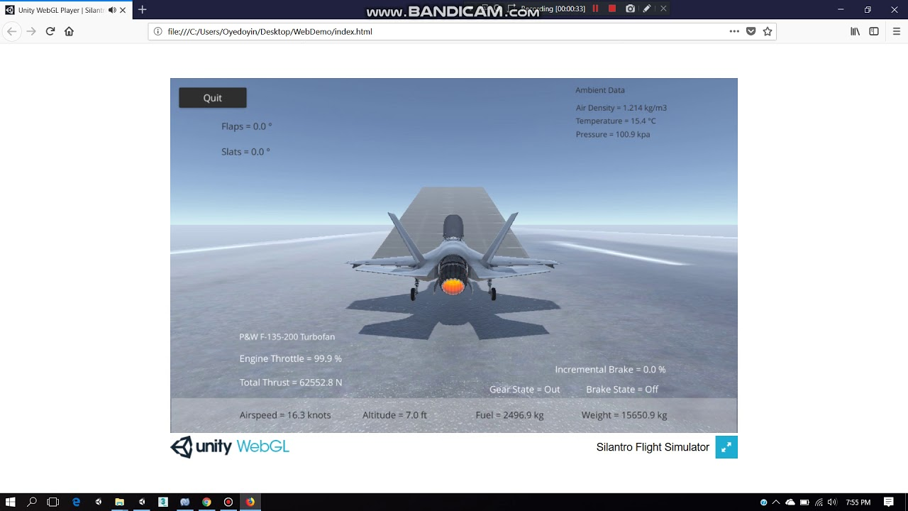 Silantro Unity3d Flight Simulator: F-35 Short Takeoff Web Demo
