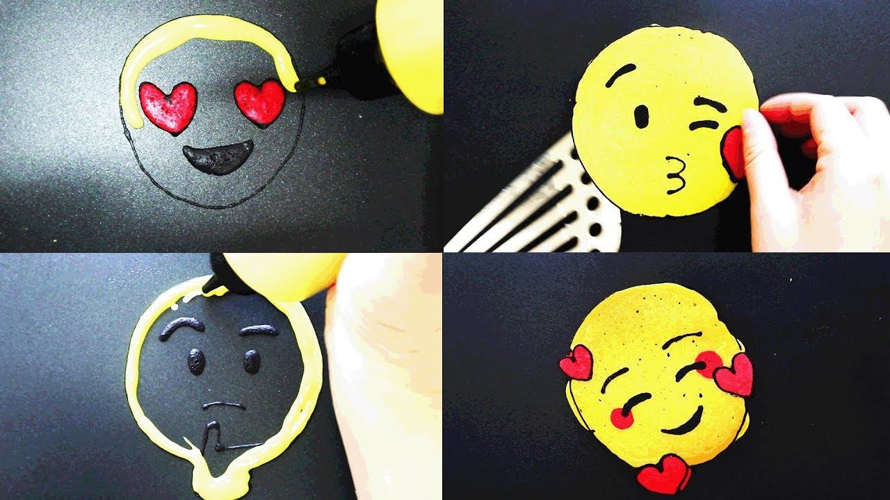 Emoji Pancake art - Heart Eyes,Blowing kisses,thinking,Heart face