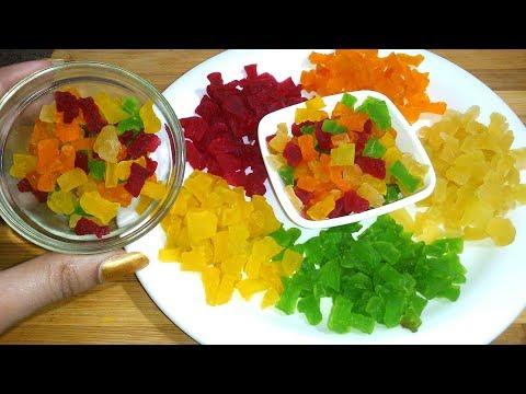 15 मिनिट में बनाईये बाजार से भी अच्छी और टेस्टी 5 तरह की टूटी फ्रूटी |Mix Tutti Frutti, Papaya Candy