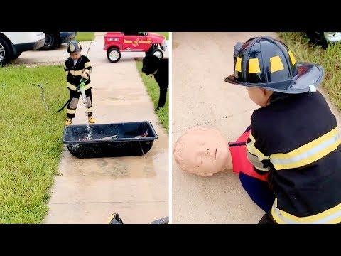 Ken Payne - 3 Year-Old Wellington Boy Trains As A Firefighter