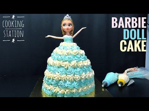 เค้กเจ้าหญิง ขนาด 2 ปอนด์ & สูตรครีมแต่งหน้าเค้ก  |  How To Make Barbie Doll Cake With Buttercream