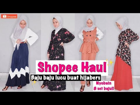 unboxing-shopee-haul-2019-+-try-on-setelan-baju-set-dan-dress-|-clothing-haul-for-hijab-or-non-hijab