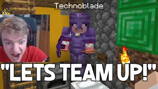 Technoblade finds TommyInnit base under his house and teams up with Tommy - Dream SMP