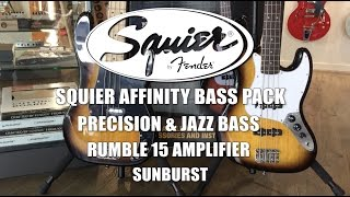 Squier Affinity Jazz Bass Guitar Laurel FB Brown Sunburst