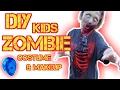 DIY KIDS ZOMBIE COSTUME/ MAKEUP WITH DIY EDIBLE FAKE BLOOD/ Halloween vlog