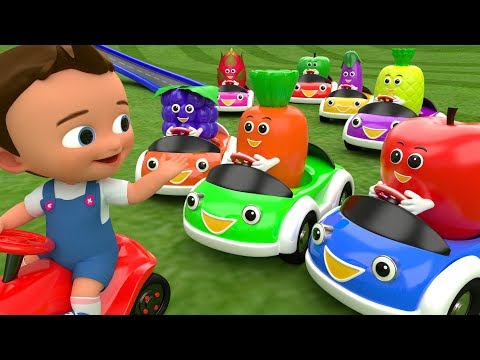 Colors & Fruits Names for Children to Learn with Little Baby Cartoon Fruit Cars Race 3D Kids Edu