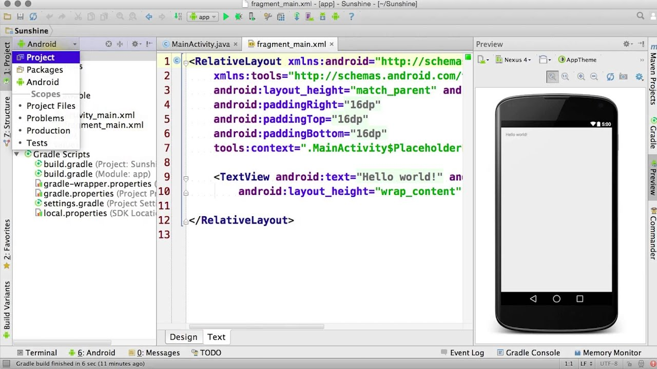 Finish Creating a New Project - Developing Android Apps by Udacity