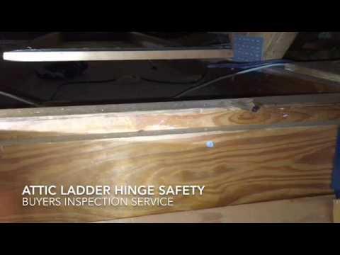 Attic Ladder Hinge may be Dangerous. Buyeru0027s Inspection Service & Attic Ladder Hinge may be Dangerous - YouTube