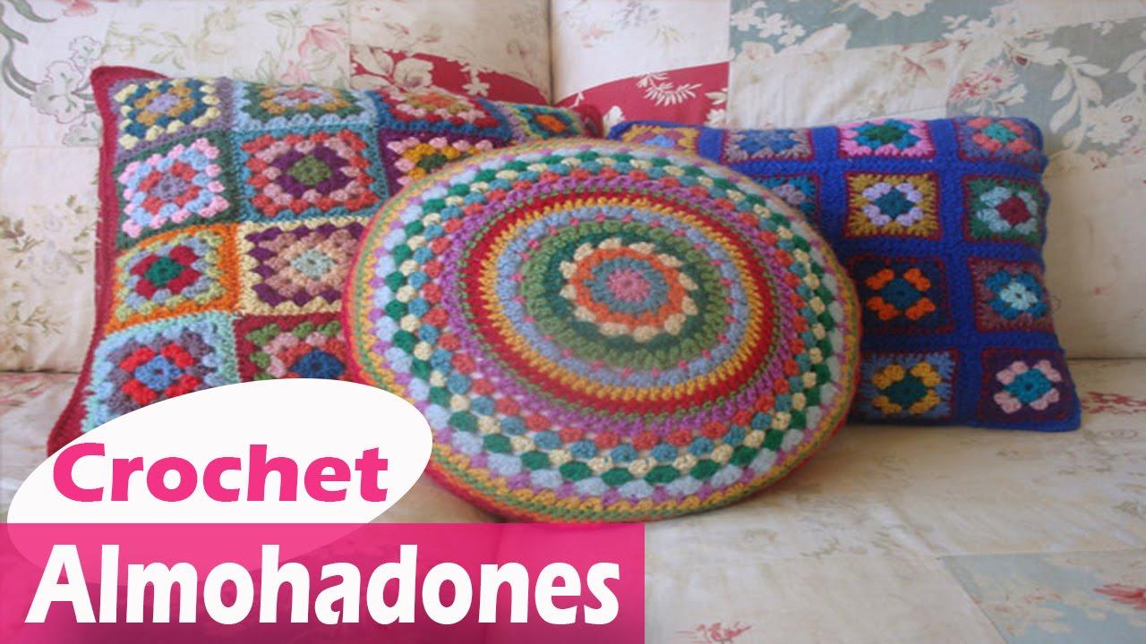 Almohadones y Cojines granny Tejidos en Crochet Diseños - YouTube