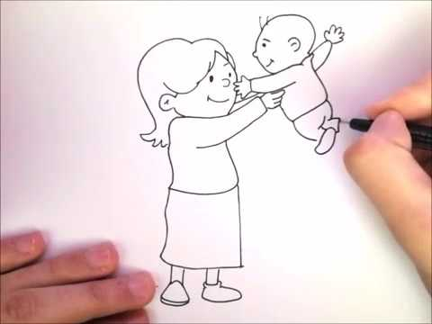 Kako Nacrtati Mamu I Bebu How To Draw A Mother And Baby