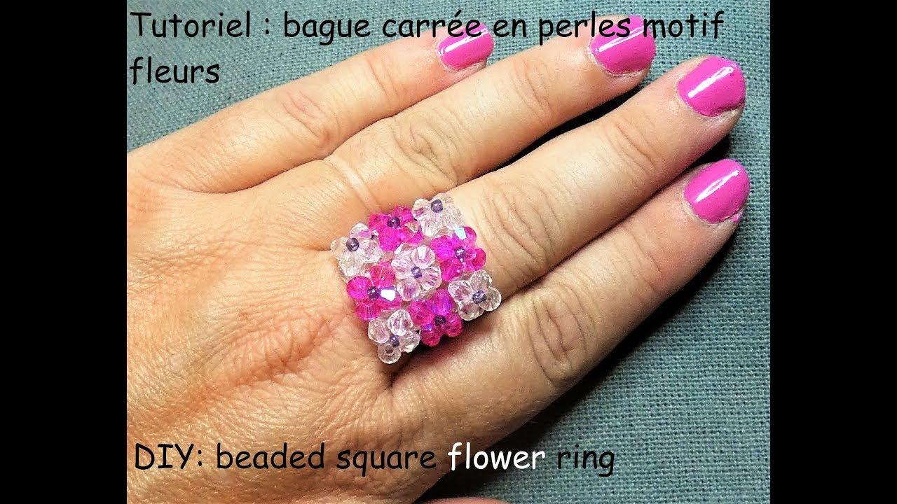 Tutoriel: bague carrée en perles motif fleurs (DIY: beaded square flower  ring)