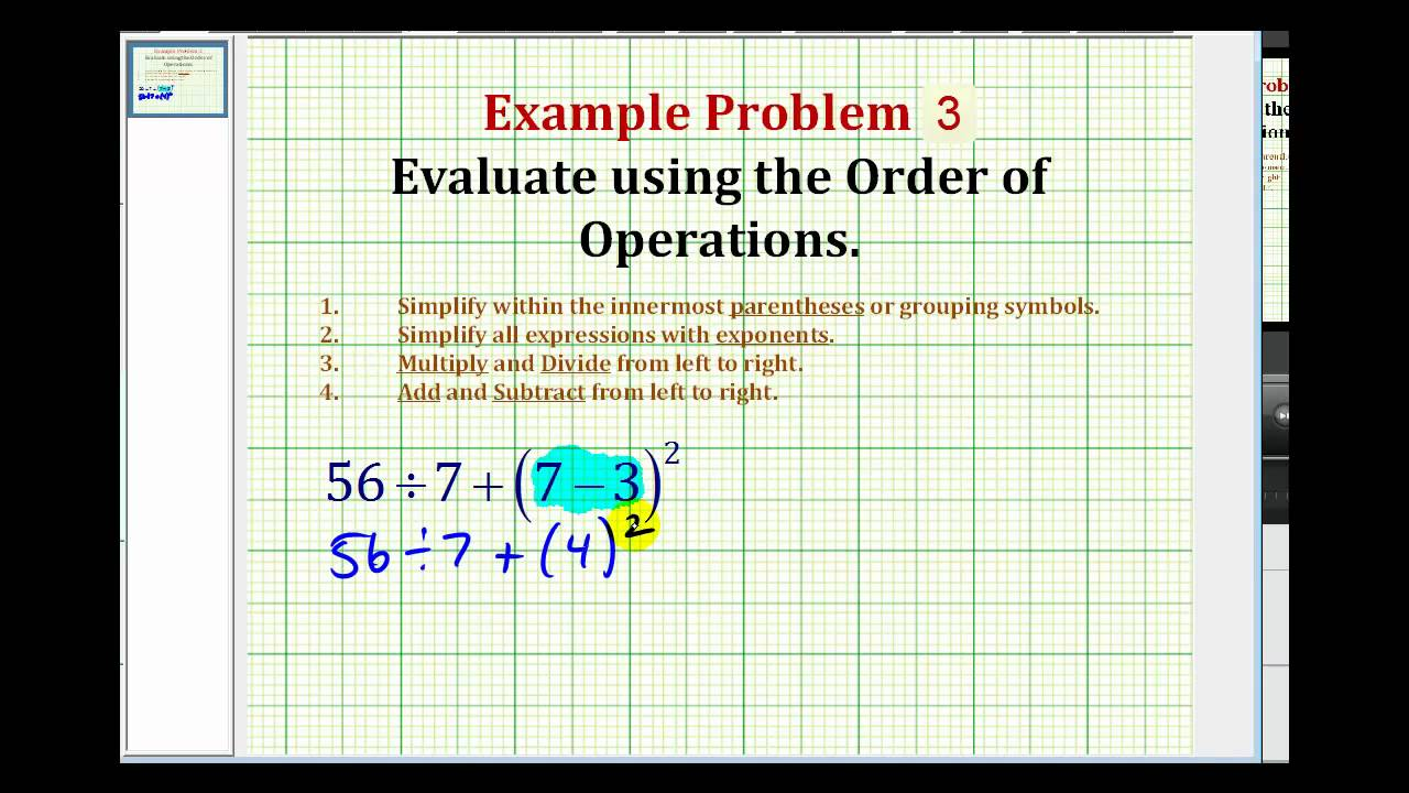 Simplifying Expressions Using the Order of Operations