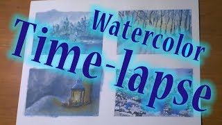 Watercolor Winter Wonderland (Time lapse)