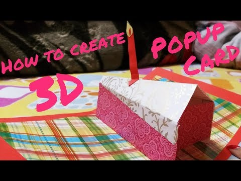 """How to create Cake slice 3D popup card-birthday theme-""""DIY"""" tutorial by paper folds 🤗❤"""