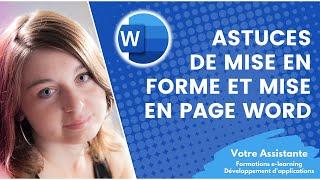 Astuces de mise en forme et mise en page Word