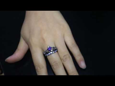 Purple Diamond Claddagh Engagement Ring