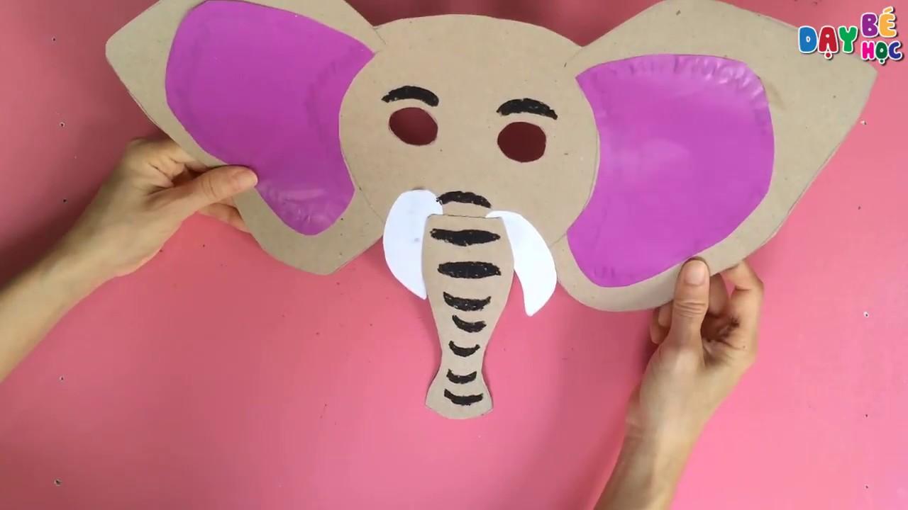 Làm đồ chơi trung thu | Cách làm mặt nạ con vật con voi cho bé | Dạy bé học